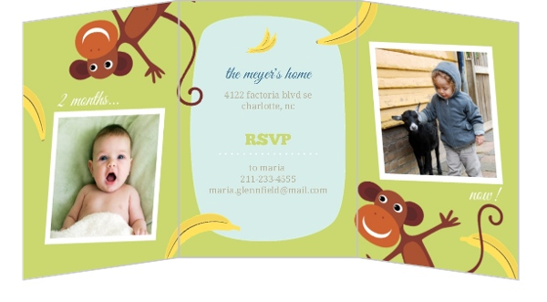 Monkey See Do Blue 2Nd Birthday Invitation
