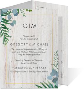 Modern Faux Foil And Greenery Wedding Invitation