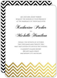 Gold Foil Chevron Gay Wedding Invitation