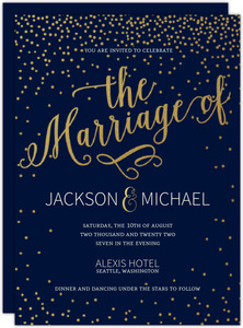 Faux Foil Sky Of Stars Gay Wedding Invitation