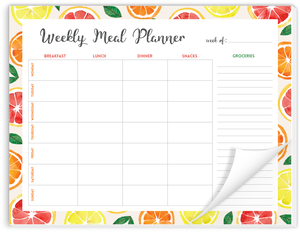 Watercolor Lemons Weekly Meal Planner Notepad