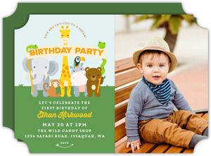 Animal Banner Safari Kids Birthday Invitation