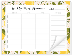 Lemon Vine Weekly Meal Planner Notepad