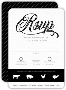 Elegant Black Tie Glass Wedding Response Card