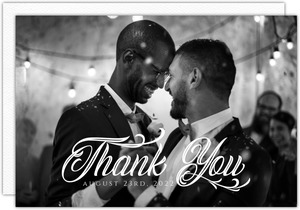 Elegant Black Tie Glass Gay Wedding Thank You Postcard