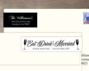 Elegant Black Tie Glass Custom Address Label