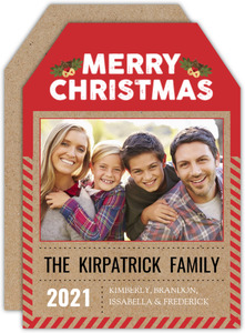 Unique Red Kraft Christmas Tag Photo Card