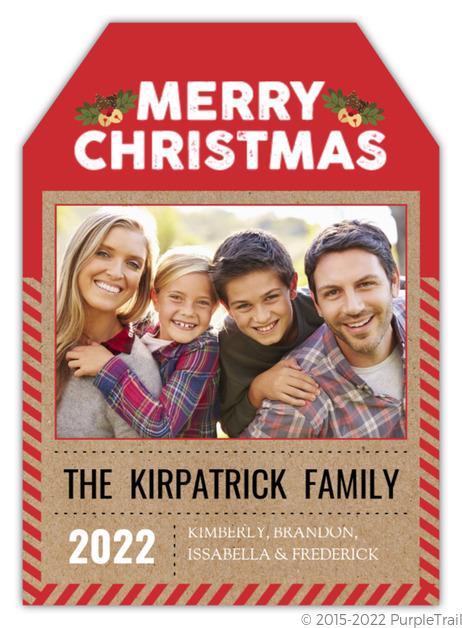 Unique Red Kraft Christmas Tag Photo Card