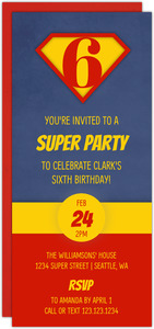 Super Number Superhero Birthday Invitation