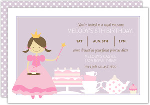 Purple and Pink Princess Tea Party Birthday Invitation