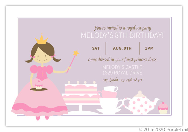 Purple and pink princess tea party birthday invitation princess purple and pink princess tea party birthday invitation filmwisefo