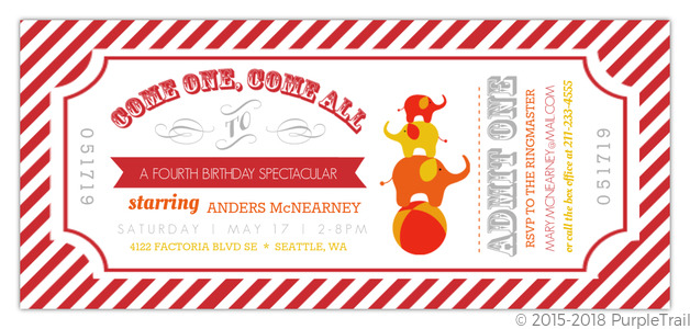 Carnival Admission Ticket Birthday Invitation