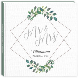 Diamond Frame Greenery Wedding Guest Book