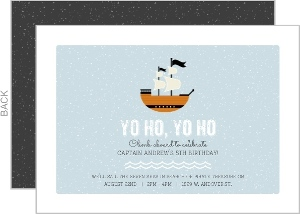 Blue Grunge Pirate Ship Birthday Invitation