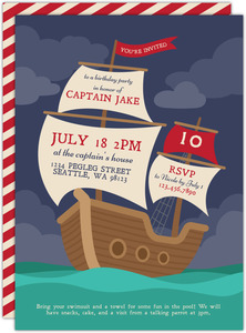 Red Striped Pirate Ship Birthday Invitation