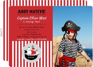Red Striped Pirate Ship Photo Birthday Invite - 1956