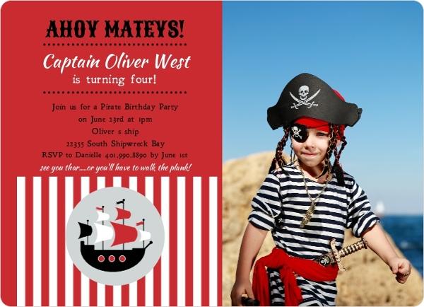 Red striped pirate ship photo birthday invite 1956 pirate red striped pirate ship photo birthday invite filmwisefo