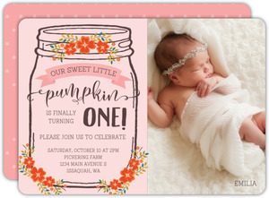 First birthday invitations 1st birthday invites fall floral mason jar birthday invitation filmwisefo