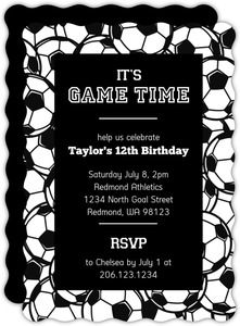 Black and White Game Time Soccer Party Invitation
