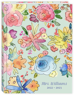 Vibrant Watercolor Flowers Teacher Planner