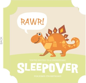 Orange And Green Dinosaur Sleepover Kids Birthday Inviation