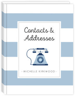 Navy Blue Telephone Striped Address Book
