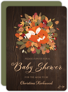 Fox Autumn Leaves Bed Baby Shower Invitation
