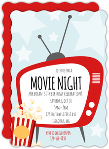 Red Tv Movie Night Invitation