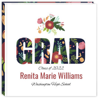 Whimsical Floral Garden Pattern Graduation Guest Book