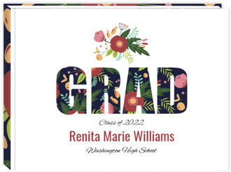 Whimsical Floral Garden Pattern Graduation Guest Book 8x6