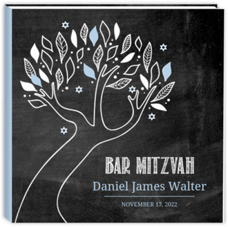 Chalkboard Blue and White Tree Bar Mitzvah Sewn Guest Book