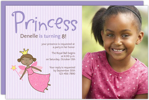 Purple Princess Birthday Party Invite