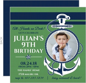 Blue And Green Anchor Nautical Birthday Invitation