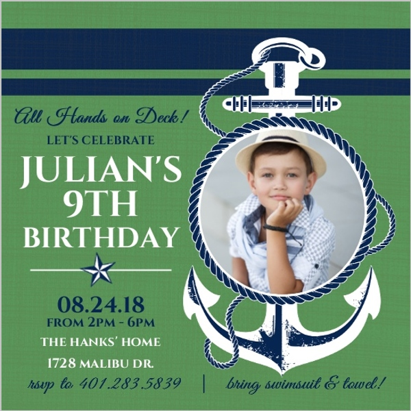 Blue And Green Anchor Nautical Birthday Invitation Nautical