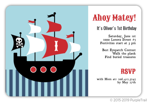 Boy birthday invitations boy birthday party invitations pirate ship birthday party invitations filmwisefo