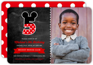 Decorative Number Kids Mickey Birthday Invitation