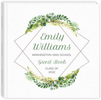 Diamond Frame Greenery Graduation Guest Book
