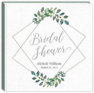 Diamond Frame Greenery Bridal Shower Guest Book