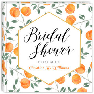Watercolor Peach Bridal Shower Guest Book