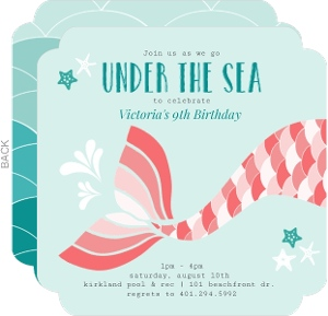 Kids birthday invitations kids birthday party invitations teal and coral scaled fin mermaid birthday invitation filmwisefo