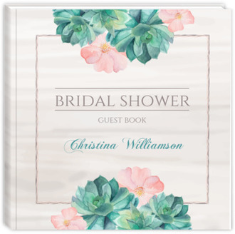 Whimsical Watercolor Succulents Bridal Shower Guest Book