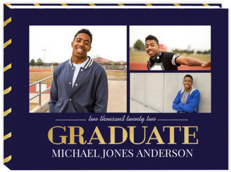Navy and Gold Graduation Guest Book 8x6