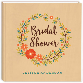 Rustic Floral Wreath Bridal Shower Guest Book