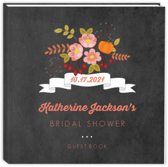 7a71a69ffec8 Autumn Floral Bridal Shower Guest Book ...