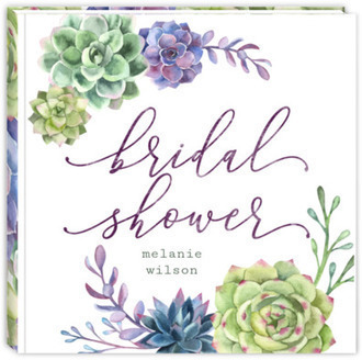 Watercolor Succulent Decor Bridal Shower Guest Book