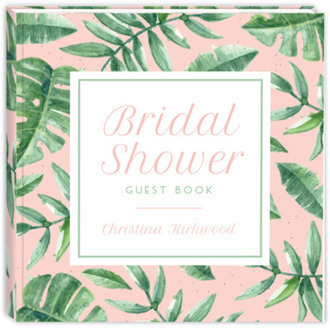 Delicate Watercolor Greens Bridal Shower Guest Book