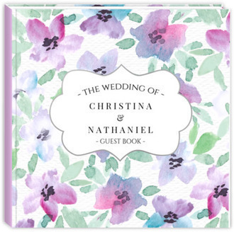 Elegant Pink & Purple Watercolor Wedding Guest Book