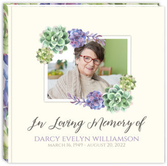 Watercolor Succulent Decor Funeral Guest Book