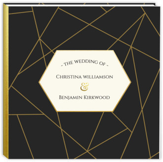 Geometric Faux Gold Foil Wedding Guest Book