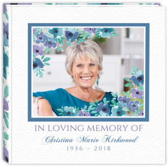 Blue Watercolor Flowers Funeral Guest Book